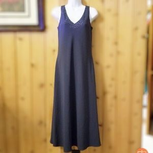 Casual Corner Navy Dress Beaded Neckline